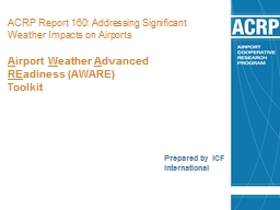 ACRP Report 160:  Addressing Significant