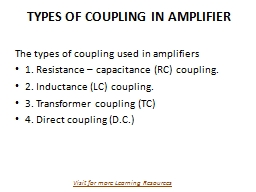 TYPES OF COUPLING IN AMPLIFIER