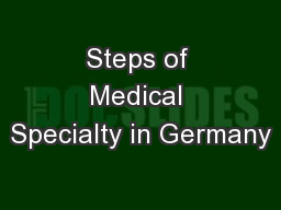 Steps of Medical Specialty in Germany
