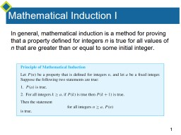 Mathematical Induction I PowerPoint PPT Presentation