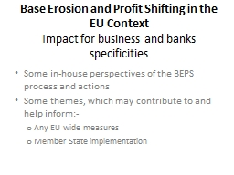 Base Erosion and Profit Shifting in the EU Context