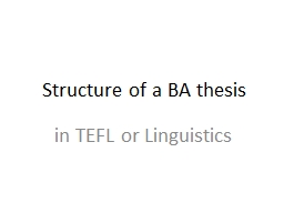 Structure of a BA thesis PowerPoint PPT Presentation