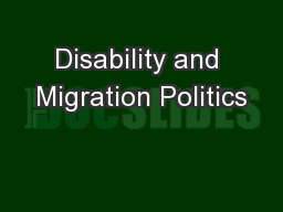 Disability and Migration Politics