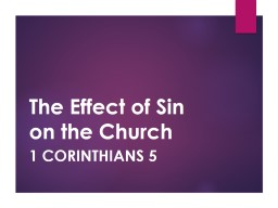 The Effect of Sin on the Church