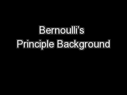 Bernoulli's Principle Background