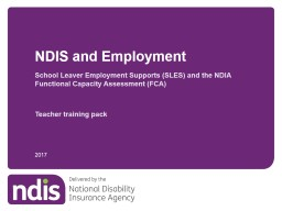 School Leaver Employment Supports (SLES) and the NDIA Functional Capacity Assessment (FCA)