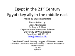 Egypt in the 21 st  Century