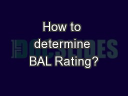 How to determine BAL Rating?