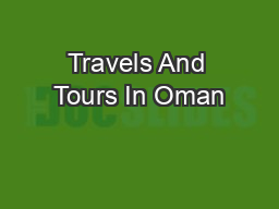 Travels And Tours In Oman