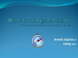 Ways to Navigate Poetry