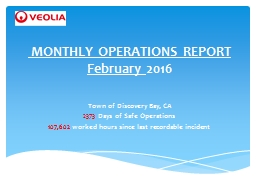 MONTHLY OPERATIONS REPORT