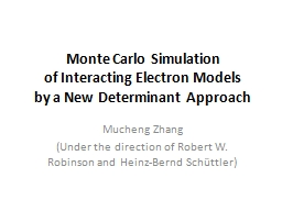 Monte  Carlo Simulation of Interacting Electron Models