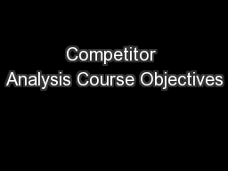 Competitor Analysis Course Objectives