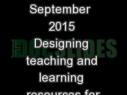 RME 5 September  2015 Designing teaching and learning resources for