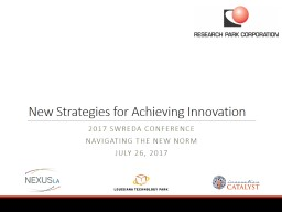 New Strategies for Achieving Innovation