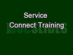 Service Connect Training