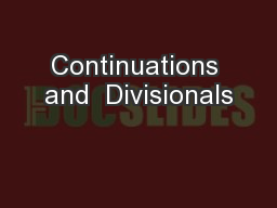 Continuations and  Divisionals PowerPoint PPT Presentation