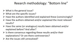 "Reearch  methodology: ""Bottom line"""
