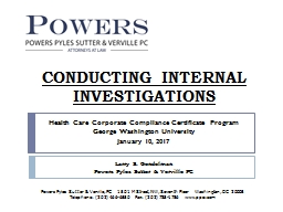 CONDUCTING INTERNAL INVESTIGATIONS
