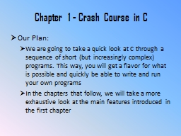 Chapter 1 - Crash Course in C