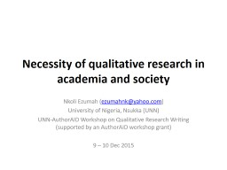 Necessity  of qualitative research in academia and society