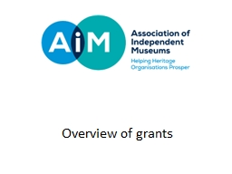 Overview of grants The  AIM/Pilgrim Trust Conservation Grant Scheme is intended to help small museu