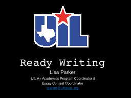 Ready Writing Lisa Parker