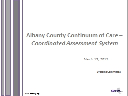 www.caresny.org Albany County Continuum of Care –