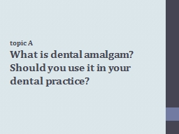 topic A What  is dental amalgam? Should you use it in your dental practice?