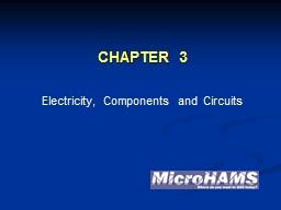 CHAPTER 3 Electricity, Components and Circuits PowerPoint PPT Presentation