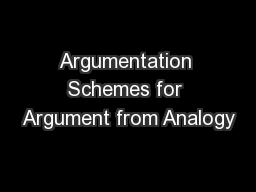 Argumentation Schemes for Argument from Analogy