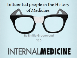 Influential people in the History of Medicine.