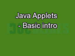 Java Applets - Basic intro