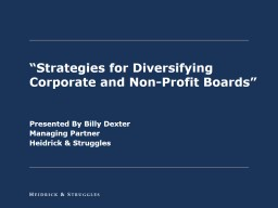 """Strategies for Diversifying Corporate and Non-Profit Boards"""