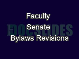 Faculty Senate Bylaws Revisions