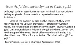 f rom  Artful Sentences: Syntax as Style, pg.11