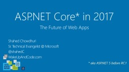 ASP.NET Core* in 2017 Shahed Chowdhuri