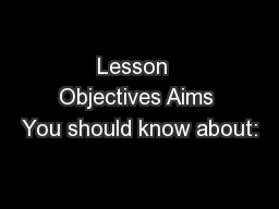 Lesson  Objectives Aims You should know about: