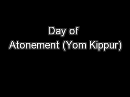 Day of Atonement (Yom Kippur)