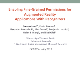 Enabling Fine-Grained Permissions for Augmented Reality