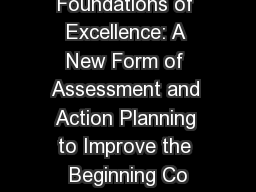 Foundations of Excellence: A New Form of Assessment and Action Planning to Improve the Beginning Co