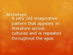 Archetype A very old imaginative pattern that appears in literature across cultures and is repeated