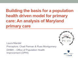 Building the basis for a population health driven model for primary care: An analysis of