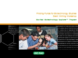 Finding Funds for Biotechnology Studies
