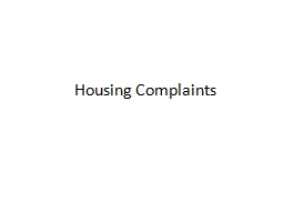 Housing Complaints Pre-Listening Exercises