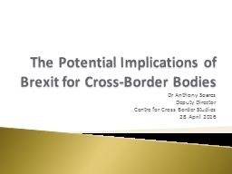 The Potential Implications of Brexit for Cross-Border Bodies