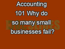 Accounting 101 Why do so many small businesses fail?