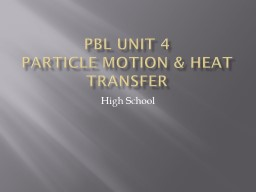 PBL Unit 4 Particle Motion & Heat Transfer PowerPoint PPT Presentation