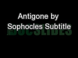 Antigone by Sophocles Subtitle