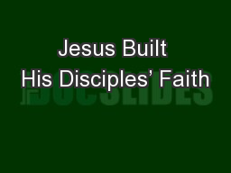 Jesus Built His Disciples' Faith